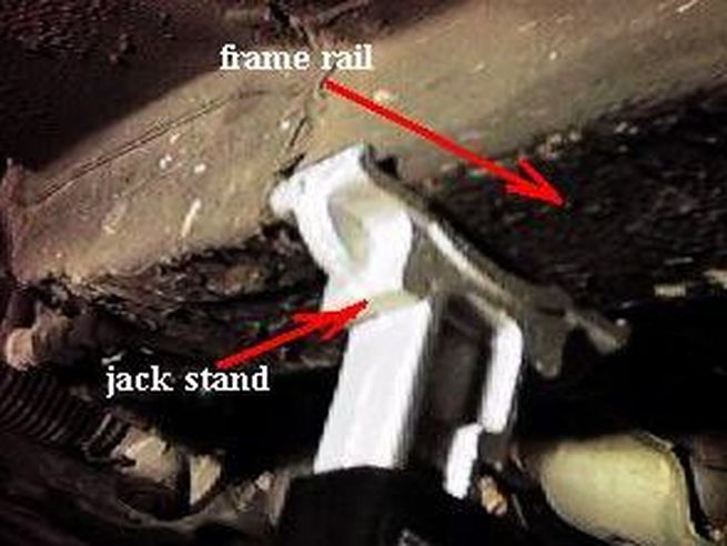 Frame rail on jack stand
